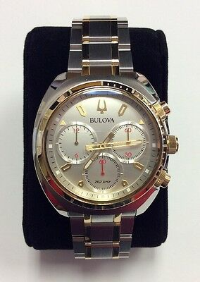 BULOVA Men's CURV Two-Tone Stainless Steel Chronograph WATCH 98A157