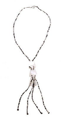 Charismatic- Monochrome Beads/white Dome Trio/ Fringed Pendant Necklace(Zx188)