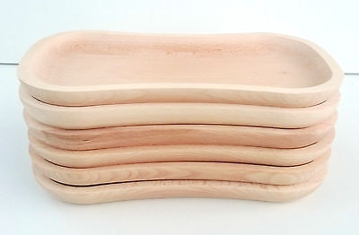 """Wooden plate set 11,5""""x 6""""  ,6 piece untreated natural tray set"""
