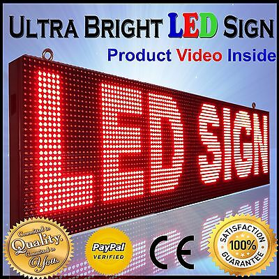 """OUTDOOR RED LED SIGN 13''x152"""" PROGRAMMABLE HD QUALITY LOGO TEXT BEER BAR BOARD"""