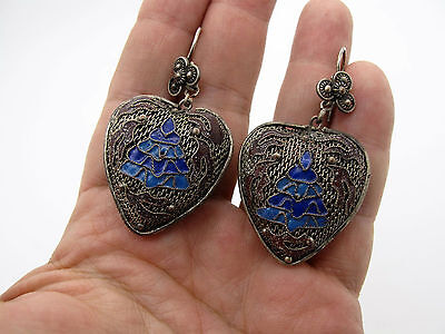 Vintage Chinese Export Filigree Heart Shaped Earrings