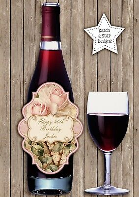 Shabby Vintage Roses Birthday Party Peel & Stick Personalised Wine Bottle Label