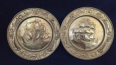Vintage Brass Nautical Ship Wall Hanging Plate Set Of 2 Nautical Theme
