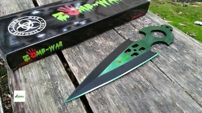 """NEW 6.5"""" Green Tactical Throwing Knife Zombie Combat w/ Sheath"""