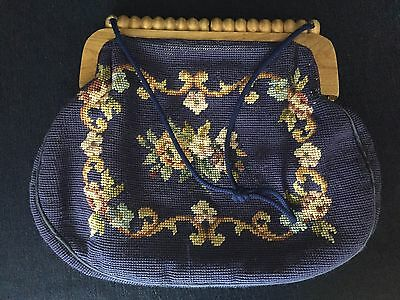 Vintage Needlepoint Hand Bag With Wooden Handle Floral Tapestry