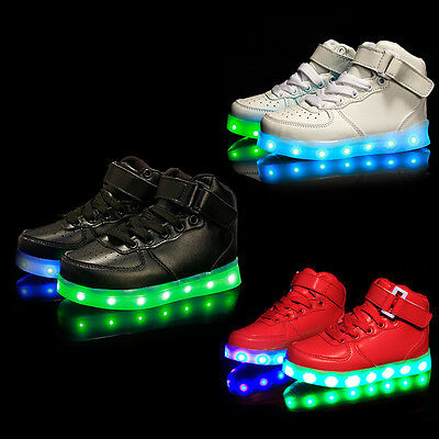 Unisex Kids LED Light Lace Up High Top Sportswear Sneaker Luminous Casual Shoes