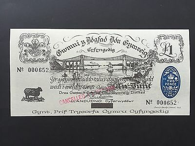 Wales 1 Pound 1969 Private Issue 'Black Sheep' Low Number 000652 Cancelled UNC