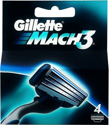 4 new replacement Gillette Mach 3 blades Shaving Razor Blades for Gilette