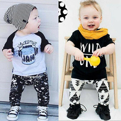 Toddler Baby Boy Girl T-shirt Tops+Pants Outfits Newborn Infant Clothes Set Suit