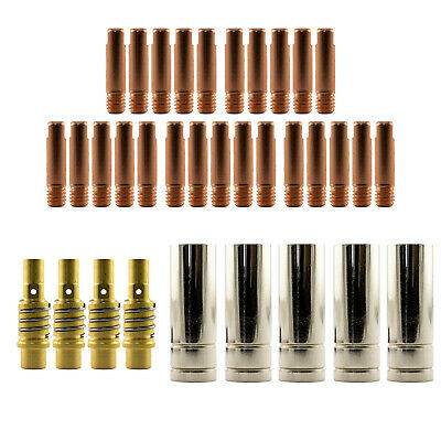 Mig MB15 LH 35 Piece KIT- 1.0mm - Binzel Style - Shroud - Contact Tip -Nozzle AK
