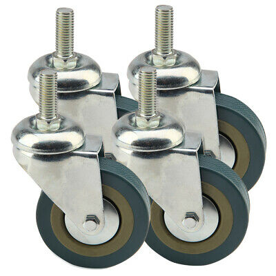 4 x 75mm Rubber PU Swivel 200kg Castor Wheels Trolley Furniture Caster - Screw