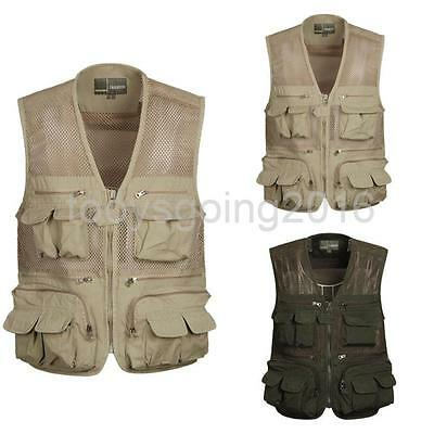 Men's Multi Pocket Waterproof Outdoor Fishing Mesh Vest Jacket Hunting Waistcoat