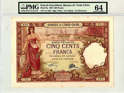 French Somaliland Somalia 1927 500 Francs Choice Unc Pmg 64 - Amazing Xl Size