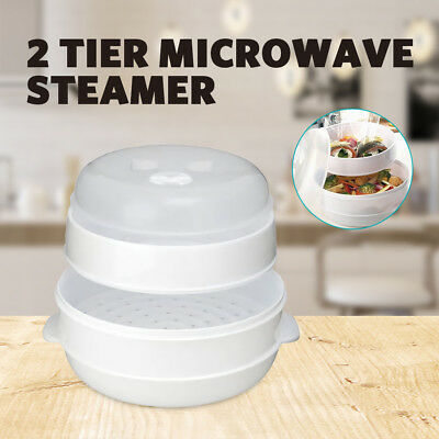2017 Microwave Steamer 2 Tier Double Layer for Cooking Meals Kitchen Appliances