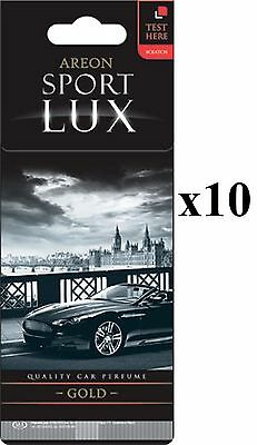 Areon Sport LUX Quality Perfume/Cologne Cardboard Car Air Freshener Gold 10 PK