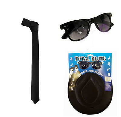 a2dbb7c4 1980s Gangster Blues Brother Fancy Dress Set Hat & Glasses & Tie Fancy