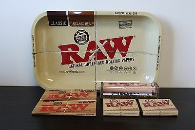 Raw Rolling Tray Combo+Raw 110mm Roller + Raw King Size Rolling Papers + Tips
