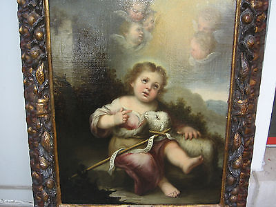 Murillo, Bartolome, Studio Of.antique Oil Christ, Lamb, Angels