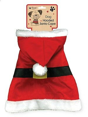 Christmas Xmas Festive Pet Dog Fancy Dress Santa's Hooded Cape