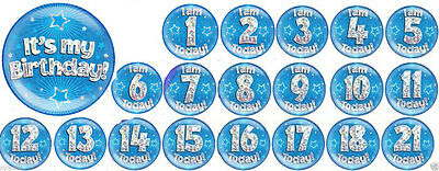 Men's/ Boys Happy Birthday Blue Giant Party Holographic 6 Inches Badge