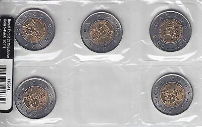 2015 Parks Canada Circulation $2 Coin 5-Pack of 5 Toonies - UNC's