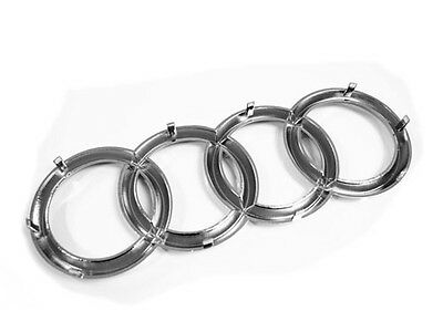 Audi Rings Grille Emblem Badge W/ Straight Clips - Chrome (285Mm X 100Mm)