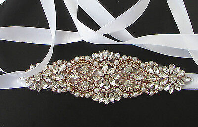 Rose Gold White Silver Pearl Diamante Bridal Belt Wedding Sash Vintage Bead 492