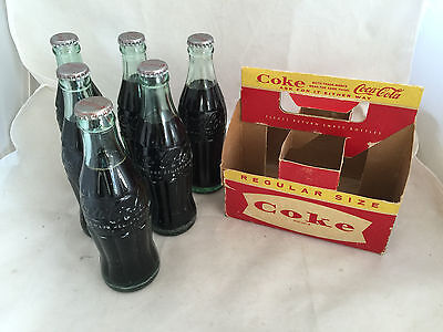 Original Fill Full Coca-Cola 6oz Size Coke Embossed Bottles and 6 Pack Carrier