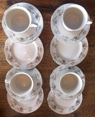 4 X Coronet Cups, Saucers & Side Plates. Made In Japan, Floral - Tea Party