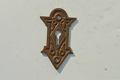 Antique Ornate East Lake Style Cast Iron Escutcheon/key Hole Cover