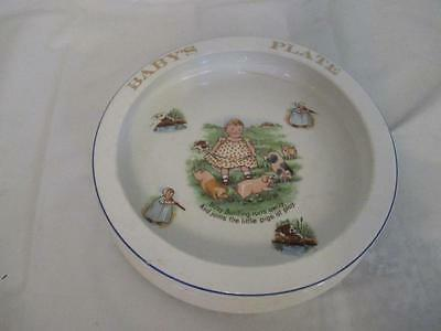 D8 Vintage Ceramic Baby Bunting Playing w/ Pigs Child's Bowl