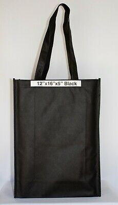 10 Black Shopping Bags Eco Friendly Reusable Recyclable Gift Promo Bag (Med)
