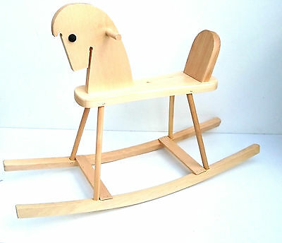 Wooden rocking horse for kids solid natural wooden toy