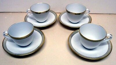 RORSTRAND-SWEDEN-EXCLUSIV- 4 COFFEE CUPS & SAUCERS-GOLD TRIM-VINTAGE-FROM 50s
