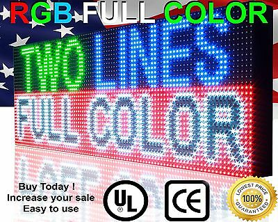 """18"""" x75"""" OUTOODR PROGRAMMABLE 13MM TEXT SCROLLING DISPLAY LED SIGN BOARD NEON"""