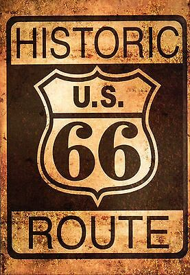 Historic Route 66, Highway Chicago to Los Angeles, Road Sign, Travel -- Postcard