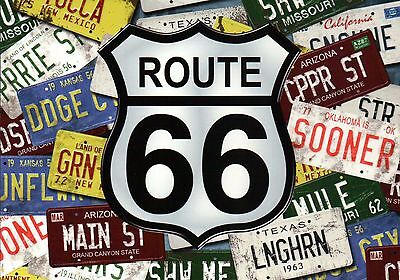 Route 66 License Plates, Highway Chicago to Los Angeles, Car Travel --- Postcard
