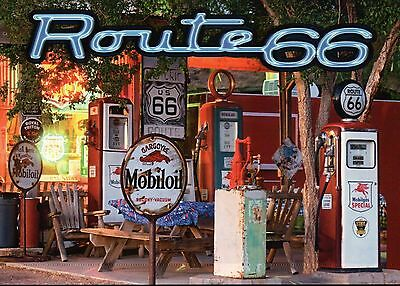 Route 66, Gas Station Pump and Sign, Road Chicago to Los Angeles USA -- Postcard