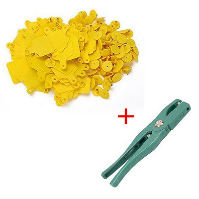 Cow Cattle Blank Large Livestock Ear Tag With Yellow Color + Ear Tag Plier