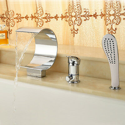 LED Bath-Tub Faucet Bathroom Waterfall Mixer Taps Chrome ABS Hand Shower Brass