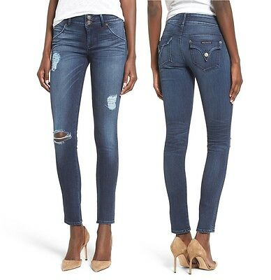 Hudson Women Collin Denim Skinny Ripped Pants Stretch Slim Jeans Anchor Blue