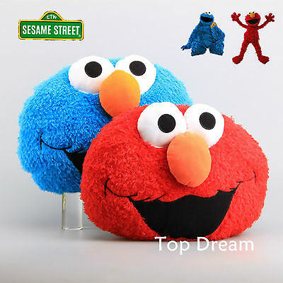 Sesame Street Cookie Monster & Elmo Plush Soft Cuddly Toy Pillow Throw Cushion