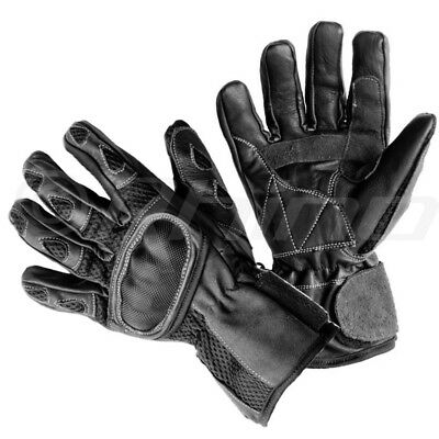 Leather motorcycle gloves with airmesh and carbon knuckle protection S - 3XL