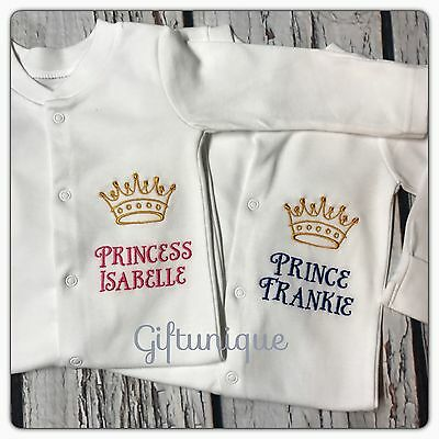 PERSONALISED Baby Grow Embroidered SLEEPSUIT Prince Princess Boy Girl ANY NAME