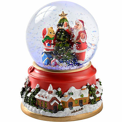12cm Santa and Bear Snow Globe Colour Changing Christmas Decoration