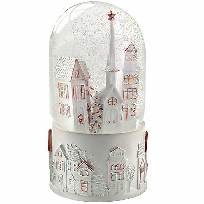 17cm Musical Snow Globe with Houses and Church Scene Christmas Decoration