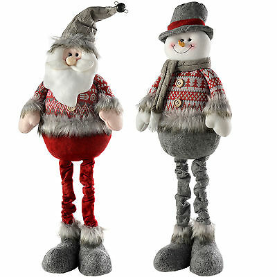 60cm Grey and Red Standing Santa Snowman Christmas Decoration, Set of 2
