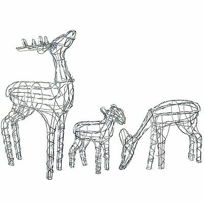 Large Pre-Lit Reindeer Family Outdoor Garden Christmas Decoration, Bright White