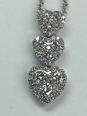18 K White Gold Heart Pendant/Necklace With Diamonds