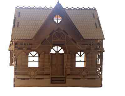 Dolls House - Wooden Doll House or   Fairy House with Two Floors intricate Desig